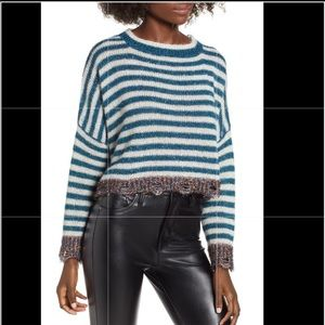Prima Cropped Striped Tinsel Sweater